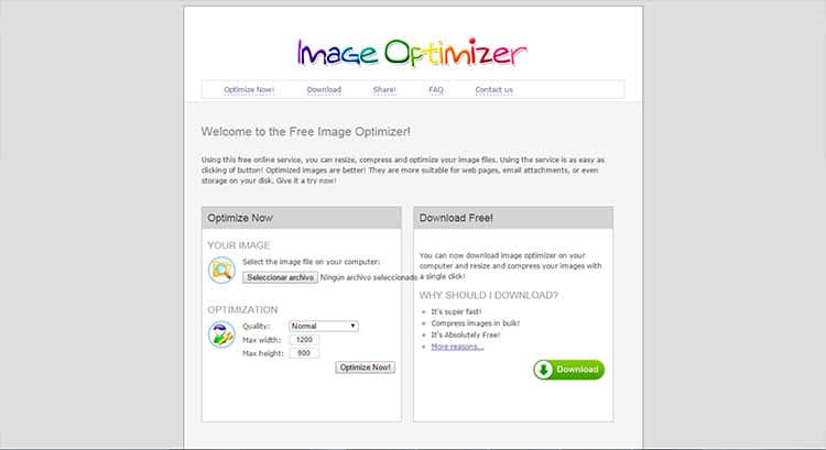 Comprimir fotos con Image Optimizer