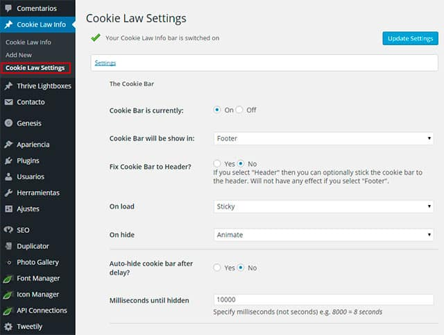 Guia del plugin Cookie Law Info