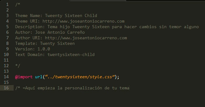 Hoja de estilos de child theme para WordPress