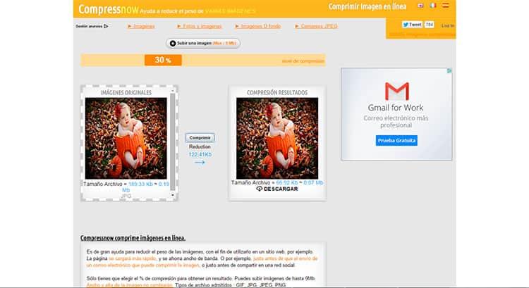 Reducir tamaño de fotos con CompressNow