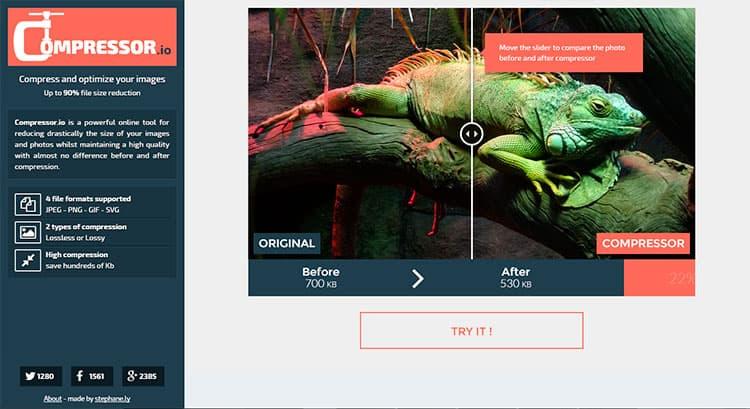 Reducir tamaño de fotos con Compressor.io