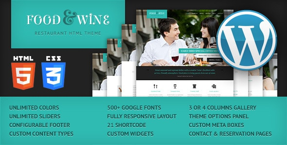 Food & Wine - Plantillas WordPress para restaurantes