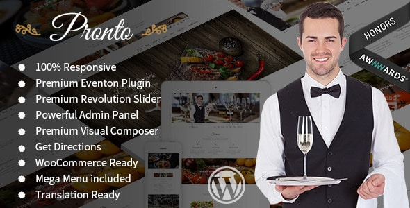 Pronto - Plantillas WordPress para restaurantes