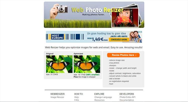 Reducir tamaño de fotos con Web Resizer