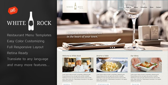 White Rock - Plantillas WordPress para restaurantes