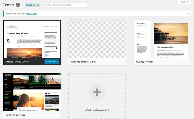Child theme instalado en WordPress