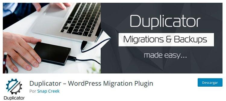 Clonar página web con Duplicator