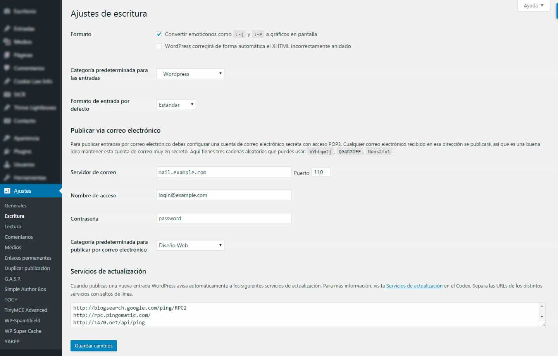 Cómo configurar los ajustes de escritura de tu blog en WordPress