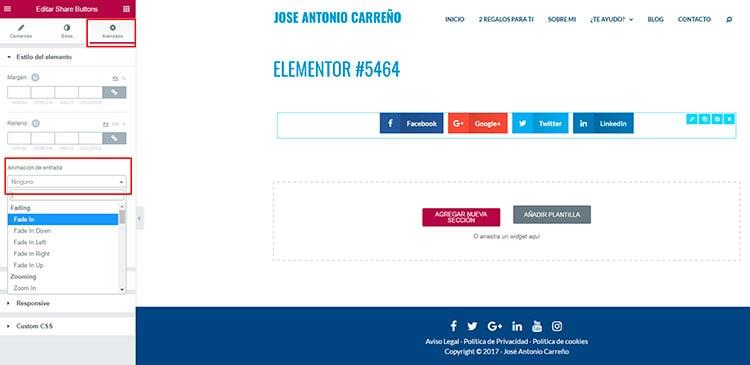 Cómo hacer animaciones web en Elementor.