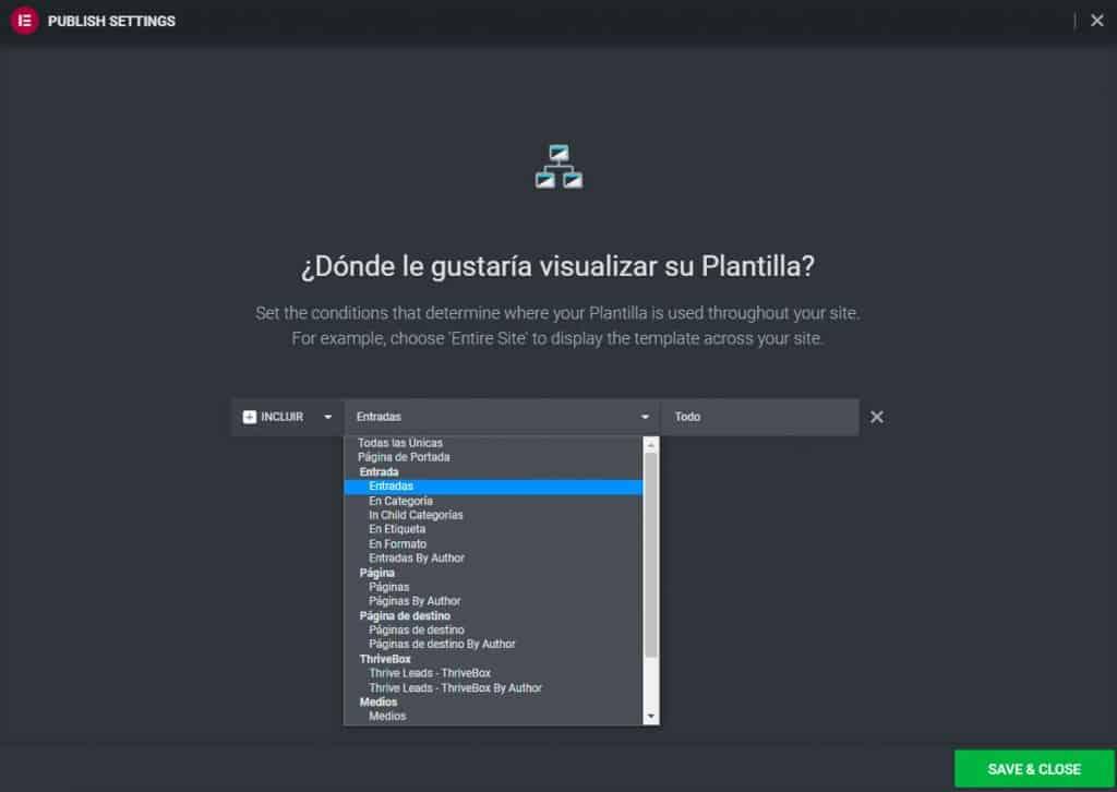 Condiciones de visualización en creador de temas de Elementor para WordPress