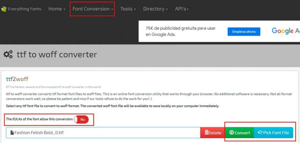 Convertir tipografías a Woff u otros formatos de navegadores web.