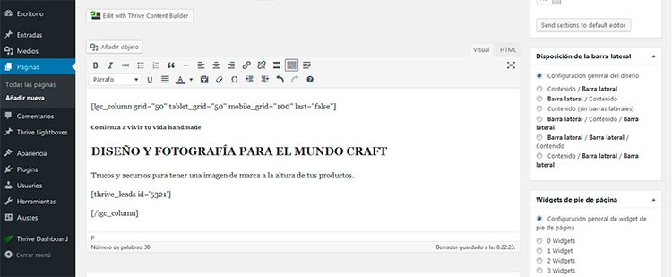 Crear columnas en WordPress