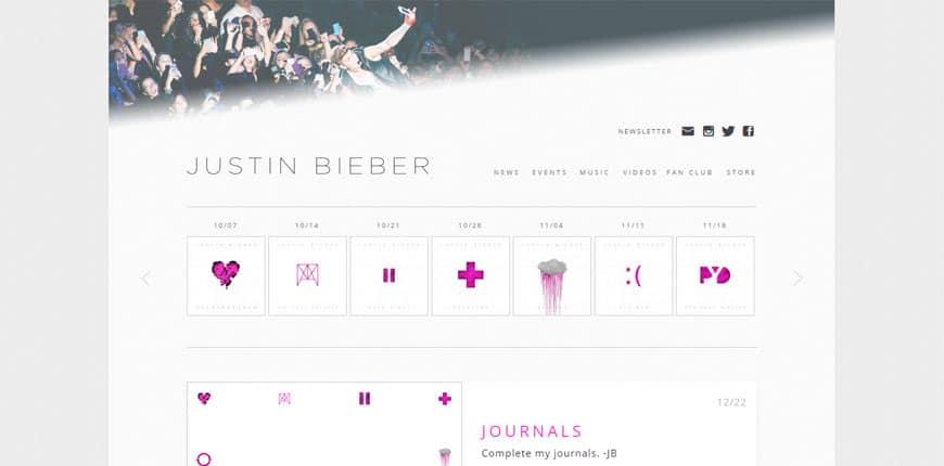 Famosos que usan WordPress - Justin Bieber