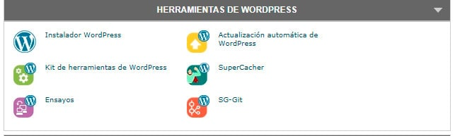 Herramientas para WordPress en Siteground.