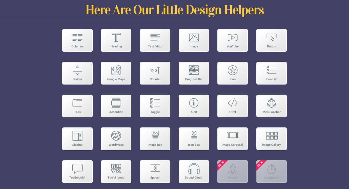 Herramientas incluidas en Elementor Page Builder