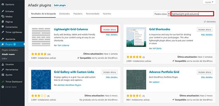 Instalación de Lightweight Grid Columns - Cómo crear columnas en WordPress.