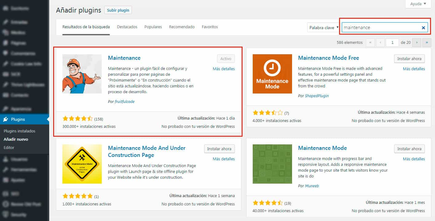 Mantenimiento en WordPress