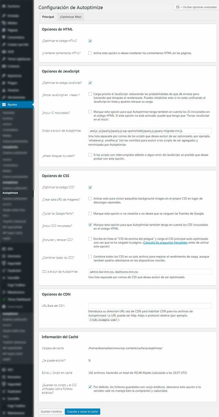 Optimizar WordPress con el plugin Autoptimize