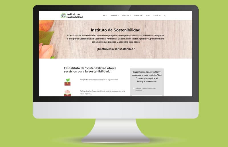 Portafolio web: trabajo realizado para Instituto de Sostenibilidad