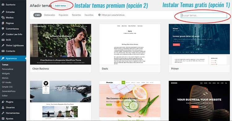 Primeros pasos en WordPress: cómo instalar una plantilla.