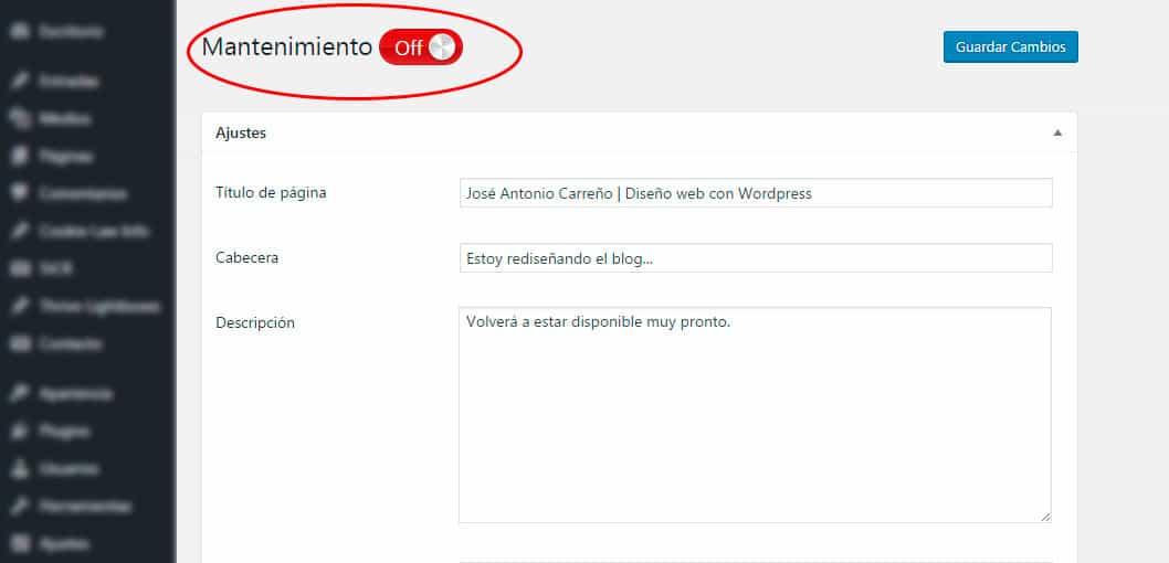 """Primeros pasos en WordPress. Cómo hacer una página """"En construcción""""."""