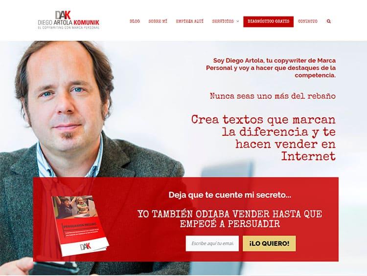 Resumen de 2017: copywriting de la nueva web creado por Diego Artola.