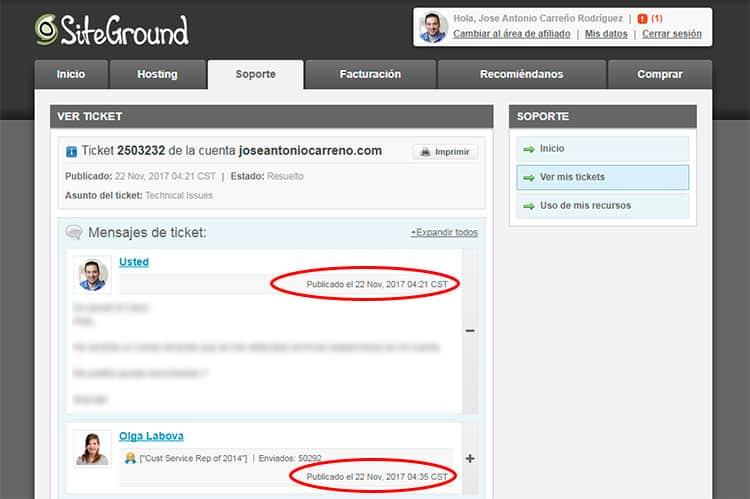 Soporte técnico en hosting Siteground.
