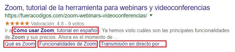 Rich Snippets mejorados por Table of Content Plus.