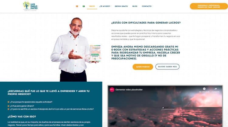 Web WordPress multiidioma de Luis Pablo Mateo creada con Polylang y Elementor.